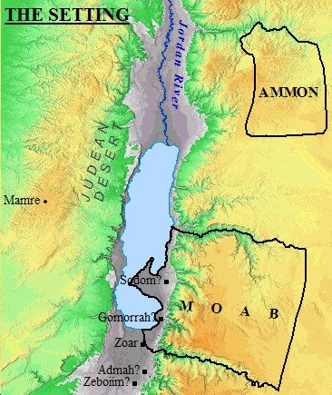 A map of the setting of Sodom and Gomorrah. Sodomite society was wicked and depraved.