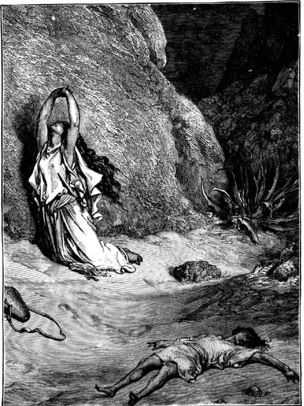 Hagar and Ishmael perish in the wilderness, dying of thirst in the scorched Sinai desert.