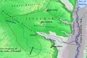 A map of the geography of the land of Issachar.