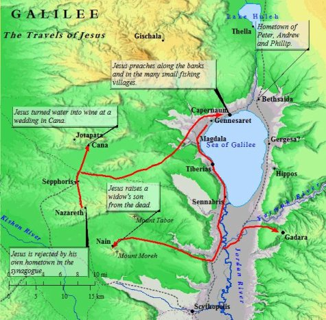 A map of Jesus in Galilee, His home region.