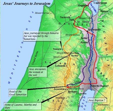 Routes Jesus traveled to Jerusalem .