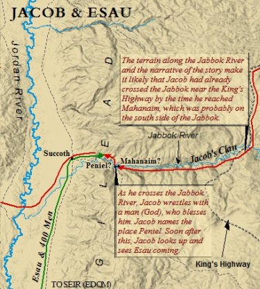A map of the location where Jacob and Esau reunited after Jacob's long absence from Canaan.