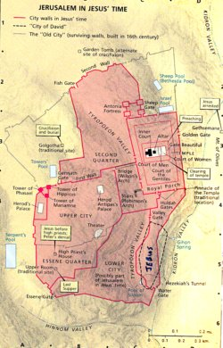 This map is from the NIV Bible & depicts ancient Jerusalem during the first century AD - the time of Jesus.