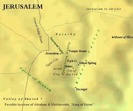 The topography of ancient Jerusalem consisted of hills, ridges & valleys.