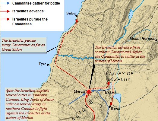 A map of the battle of Merom in Lebanon.