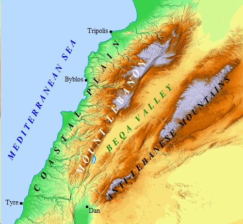 A map of Lebanon detailing the geographic regions