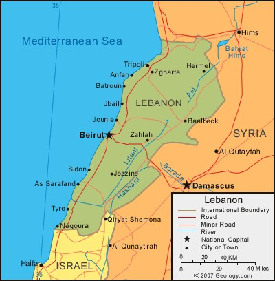 A map of Lebanon and Israel today.
