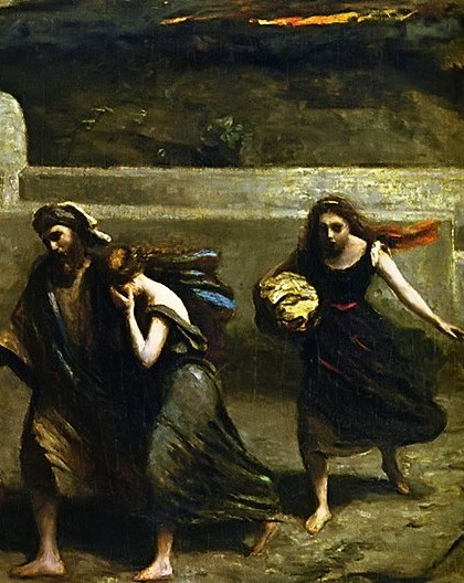 Lot and his daughters flee the destruction of Sodom and Gomorrah.