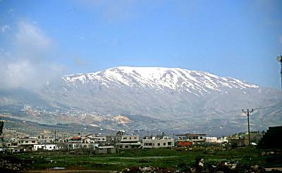 The snow covered peak of Mt. Hermon.