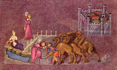 Rebekah offers water to the servant's camels.