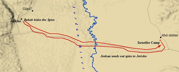 Joshua's spies left Shittim and crossed the Jordan, stealthily creeping into Jericho.