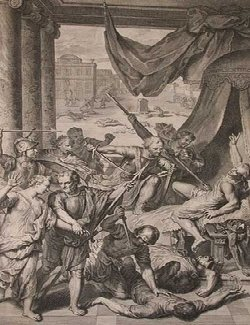 A painting of Simeon and Levi slaughering the residents of Shechem.