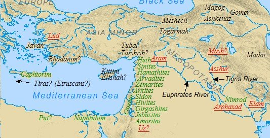 An Old Testament Map demonstrating the settlement of Canaan by the Canaanites.