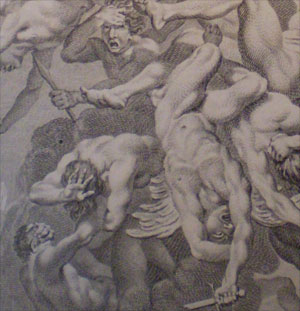 The Battle of Heaven as depicted in Paradise Lost by John Milton.