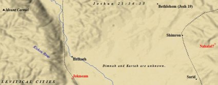 The Levitical cities of Zebulun listed in Joshua 21.