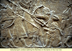 Assyrian relief of Assyrian warriors fighting the Elamites.