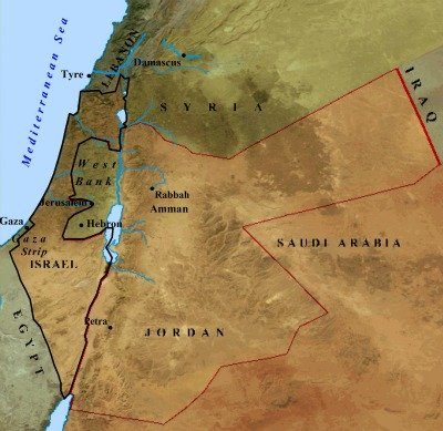 A modern day map of Israel and its neighbors.