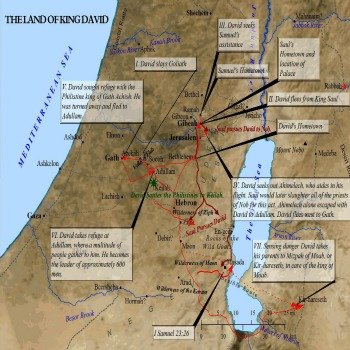 An Old Testament map of the feats and events of King David.
