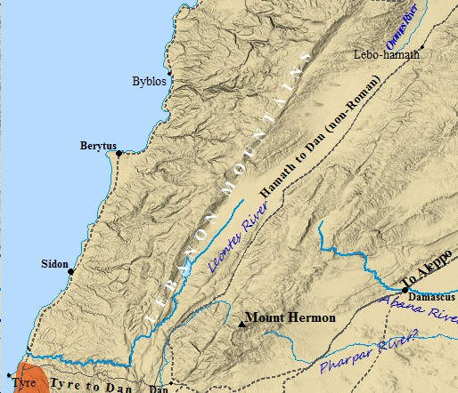 A map of Lebanon's Geography.